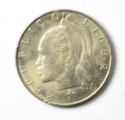 1966 Liberia $1 One Dollar Copper Nickel Coin KM# 18a.1