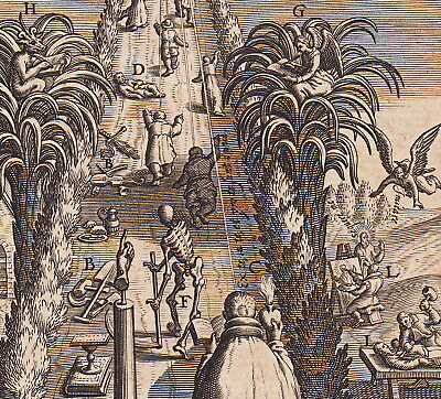 Ancient Latin Way to Heaven Book print Via Vitae 1620 Jesus Bolswert Angel Devil