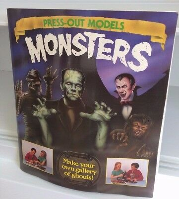 HALLOWEEN 1993 MONSTERS PRESS-OUT MODELS Gallery of Ghouls FRANKENSTEIN, WOLFMAN