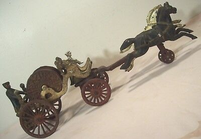 "1890's~DENT~ANTIQUE CAST IRON 20"" HORSE DRAWN FIRE WAGON HOSE CARRIAGE TRUCK~"