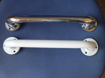 Grab Handles ( 2 ) Chrome & White, Indoors Or Out Where Help Is Needed,