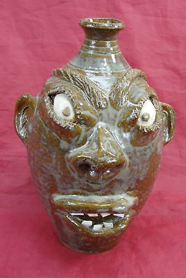 Terry King Pottery Whiskey Ugly Face Jug Signed Seagrove North Carolina 9.5""