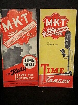 """2 MKT """"The Katy"""" Timetables- Jan 1941 Aug 1945,  with system maps   C-7  sc"""