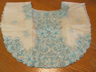 Beaded Collar- Asian South Pacific?- Aqua & Silver Embroidery Beads & Sequins