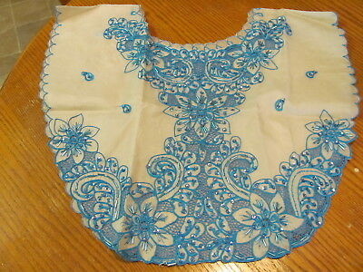 Beaded Collar- Asian South Pacific?- Turquoise Embroidery Beads & Sequins
