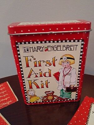 ME MARY ENGELBREIT FIRST AID KIT TIN  2001 with bandage Strips & Wipes