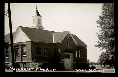RPPC Methodist CHURCH Rev Collins, ARCHBOLD, OH Fulton County Ohio REAL PHOTO pc