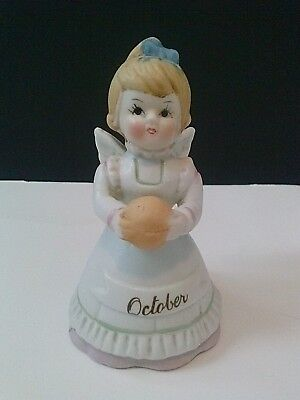 Birthday Country Farm Angel with Ringing Bell October Pumpkin Vintage Taiwan