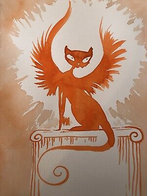FREE POST. Burning Like A Flame. Cat Art A4 Sienna Mayfair