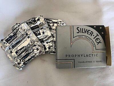 SILVER-TEX PROPHYLACTIC - CONDOMS - VINTAGE - SOME CONTENTS grocery shop Chemist