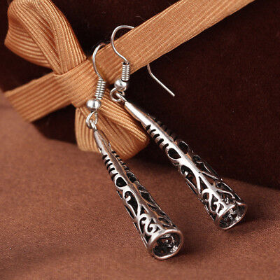 Women Vintage Silver Fashion Hollow National Style Earrings Eardrop Jewelry
