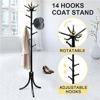 NEW Rotatable Tree Style 14 Hooks Metal Coat Rack for Hats Bags Clothes - Black