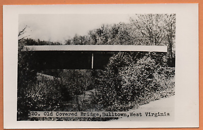 WV West Virginia Bulltown Covered Bridge Braxton County Postcard RPPC