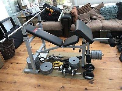 YORK Fully Adjustable Folding Gym Weight Bench Flat/incline  + EXTRAS