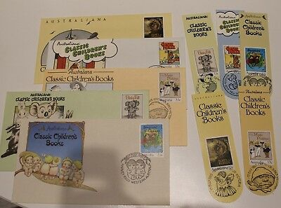 Mint 1985 Classic Childrens Book Council Fdc Set Of 5 Covers + Bookmarks