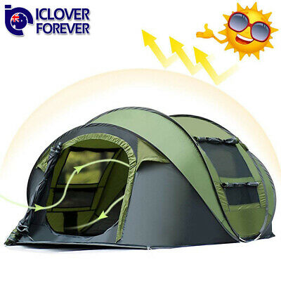 Instant Pop Up Tent 4-5 Person Family Waterproof Backpacking Hiking Camping Tent