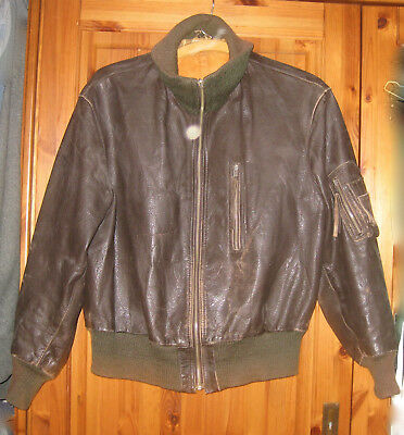 Alte 50er PAUSCH Fliegerlederjacke German Pilot Luftwaffe Leather Flight Jacket
