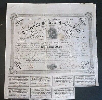 1863 $500 CSA Bond CR121 Soldier by Campfire VF with Coupons Confederate