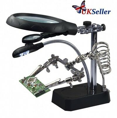 5 LED HELPING HAND CLIP LED MAGNIFYING SOLDERING IRON STAND MAGNIFIER CLAMP Hot
