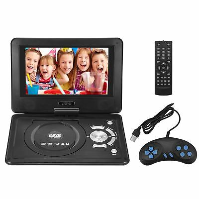 "9"" Portable DVD Player 270° Swivel Screen Rechargeable USB MP3 Video TV Game MP3"