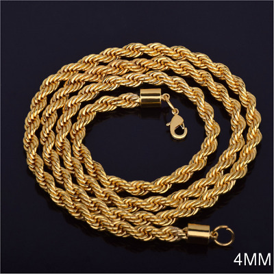 Mens Twist Chain 14K Gold Plated 4mm Rope Chain Necklace Fashion Souvenir