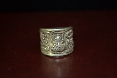 Collectible Vintage Tibet Silver carve wealthy frog FLOWER rare man Ring gift