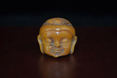 chinese old Collectible Vintage 0x B0ne Carve buddha head gift man Ring decor