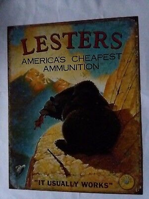 Hunting Sign Ammunition Lesters Funny Vintage Metal Advertising Tin New USA