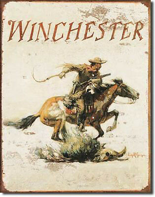 Winchester Sign Logo Horse Hunting Rustic Vintage Metal Advertising Tin New