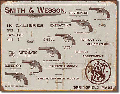 Smith & Wesson Sign S&W Revolver Rustic Vintage Metal Tin Advertising USA  Made