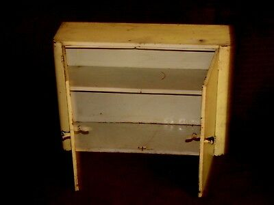 antique vintage metal wall cabinet cupboard shelf shabby primitive yellow paint