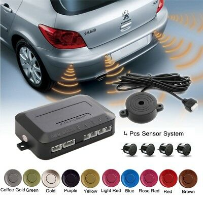 4 Parking Sensors Car Reverse Backup Rear Buzzer Radar System Sound Alert