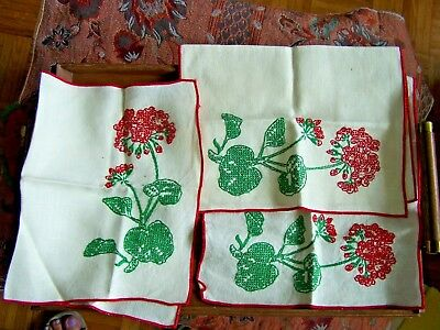 "3 Matching Embroidered Flower Design Vintage Placemats-17""x 11"""