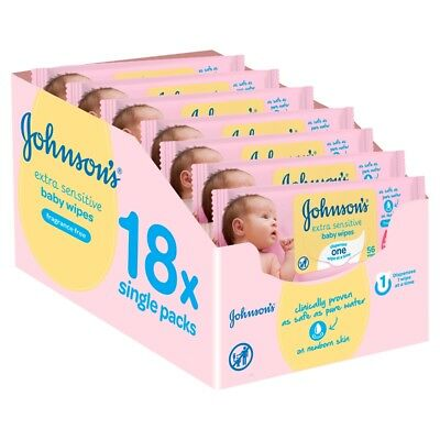 Johnson's Baby Extra Sensitive Fragrance Free Wipes 18 x Single Packs Total 1008