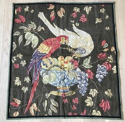 Vtg 30s 40s Linen Fabric Panel Parrot Bird Fruit Fabulous