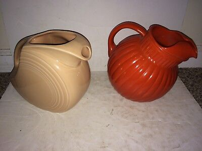 2 Vintage 40's/50's Orange Ribbed Ball Pitcher,Pink Rose Fiesta Disc,Pitchers
