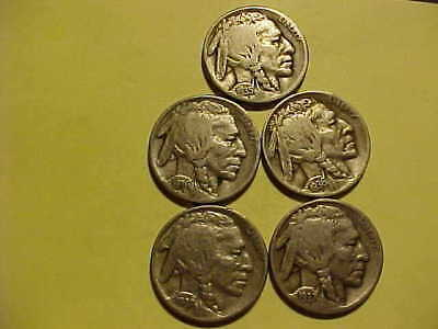 Lot of Vintage Buffalo Nickel (5) different all with Mint Marks