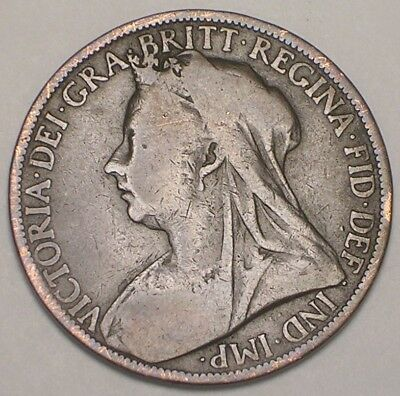 1900 UK Great Britain British One 1 Penny Old Queen Victoria Coin