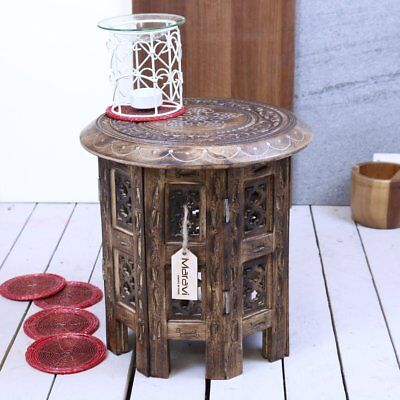Pasli Small Side Table Wooden Round Coffee Lamp End Brown Hand Carved Home 30cm