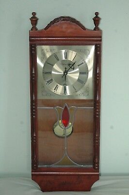 "Vintage ""william Dale"" Wall Clock,stained Glass Face."