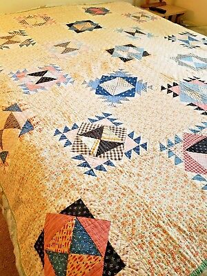 """Vintage Feedsack Country Quilt Bowtie Pattern 75"""" X 74"""" Preowned W Repair."""