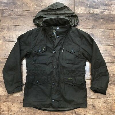 Men's Barbour Quilted Lining Olive Wax Jacket Size Small VGC!
