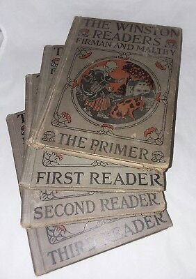 Antique Winston Readers Primer First Second Third Furman and Maltby 4 Books