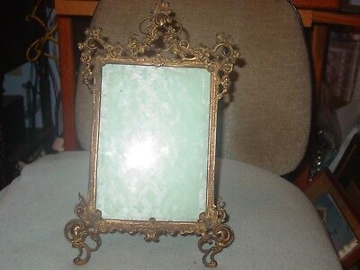 Antique Victorian Brass Fancy Standing Picture Frame