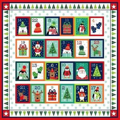 Christmas Novelty Icons Advent Calendar - PANEL Santa DIY Crafts Cotton Fabric