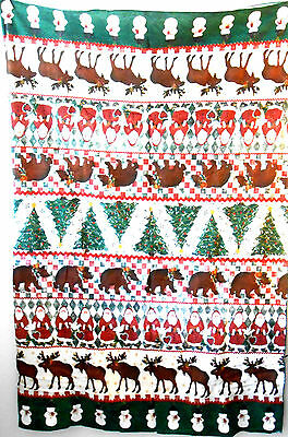 "78x58"" Cotton CHRISTMAS TABLECLOTH w Moose CHRISTMAS TREES Snowmen SANTAS Bears"