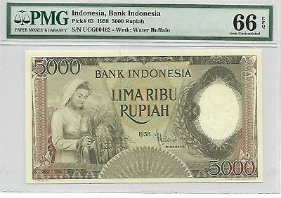 Indonesia, Bank Indonesia - 5000 Rupiah, 1958. Green Color. PMG 66EPQ. RARE.