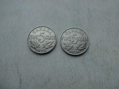 Key dates 1925 and 1926 Canada Canadian five 5 cent nickels in fine condition