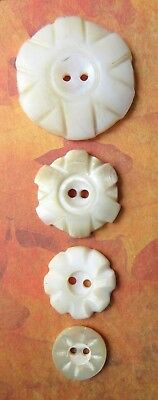 4 Antique Vintage Flower Carved Shell MOP Pearl Buttons Lot