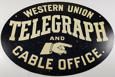 Western Union Telegraph And Cable Office Pointing Hand Heavy Duty Metal Adv Sign